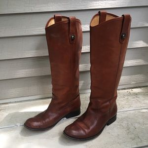 FRYE Melissa Button Tall Leather Cognac Boots